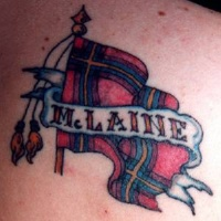 Mclaine clan flag tattoo in colour